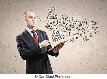 Businessman with ipad in hands - Image of businessman...