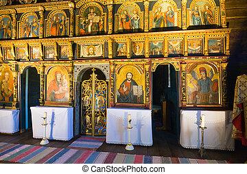iconostasis, eslovaco, ortodoxo, iglesia