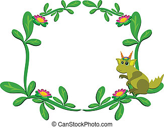 Frame of Plants with Baby Dragon