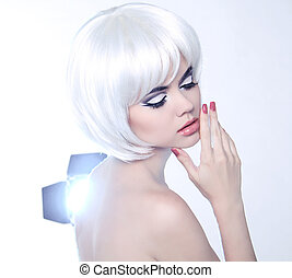 Fashion Beauty Portrait of woman with White Short Hair. Makeup and Hairstyle. Manicured polish nails.