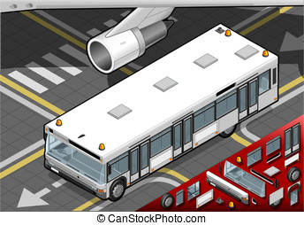 Isometric Airport Bus in Front View - Detailed illustration...