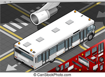 Isometric Airport Bus in Rear View - Detailed illustration...