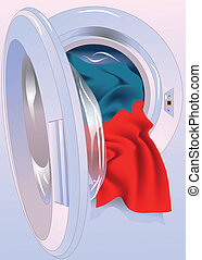 washing machine - Opened washing machine door with colored...