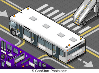 Isometric Airport Bus with Open Doors in Rear View -...