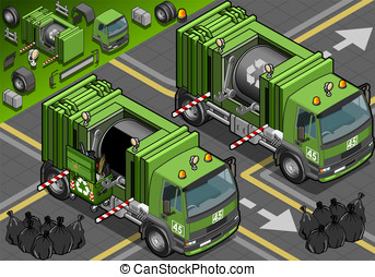 Isometric Garbage Truck in Front View - Detailed...
