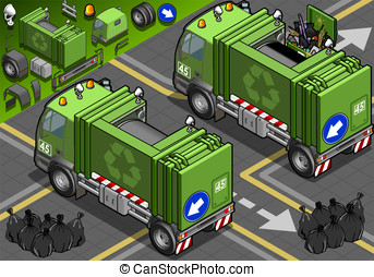 Isometric Garbage Truck in Rear View - Detailed illustration...