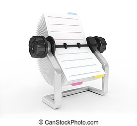 3D Rolodex on a white background isolated