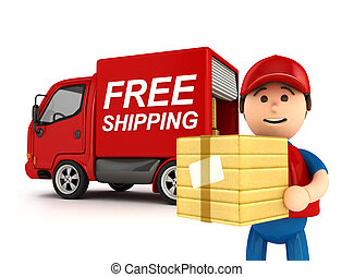 3D Courier Man with Free Shipping Written Truck - isolated