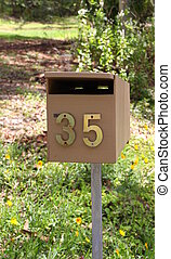 Letterbox - A nice brown wooden letterbox with 35 in brass...