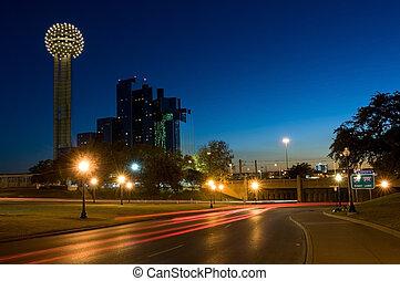 Dallas cityscape with Reunion Tower - Dallas underpass where...