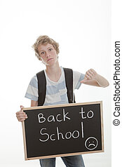 thumbs down to school - back to school, student with thumb...