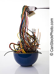 Cyber Noodles - Bowl of Noodles Made of Computer Wires -...