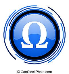azul, círculo,  omega, lustroso, ícone