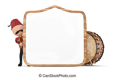 ramadan drummer with wooden frame - 3d ramadan drummer with...