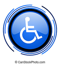 accessibility circle blue glossy icon