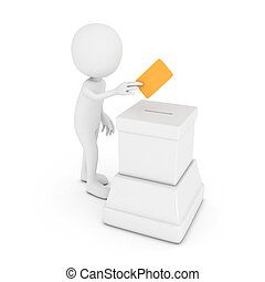 3D White Man putting a voting ballot into the box isolated