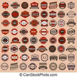 carreras, insignias, -, vendimia, estilo, grande, Conjunto