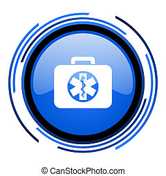 rescue kit circle blue glossy icon