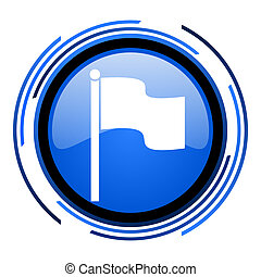 flag circle blue glossy icon