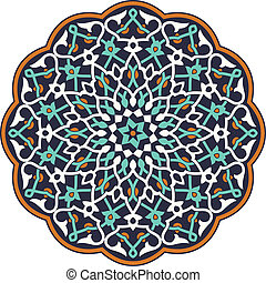 Arabic circular pattern over white background in editable...