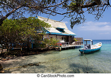 Caribbean House and Boat - House and Boat in a Lagoon in the...