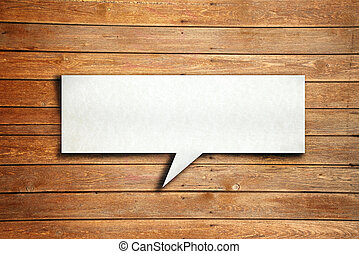 Speech ballon on wood background - Empty speech ballon on...