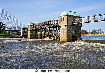 Weir on the Odra river in Wroclaw
