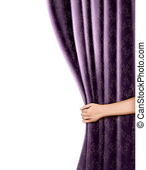 Background with violet velvet curtain and hand. Vector...