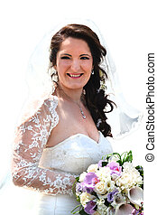 Smiling bride with bouquet colorful