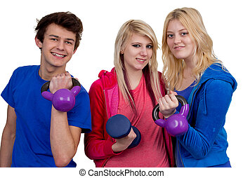 Working out together - A group of three friends working out...