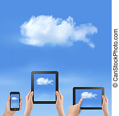 Cloud computing concept. Hand with blue sky and white cloud....