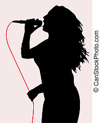 Female singing - Silhouette of female singing EPS file...