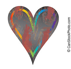 Vector grunge heart - A beautiful grunge heart on isolated...