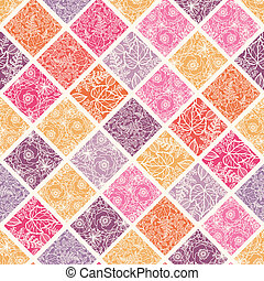 Floral mosaic tiles seamless pattern background - Vector...