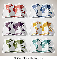 Set of retro colored Maps of the World Vector illustration...