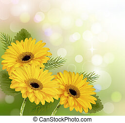 Nature background with yellow beautiful flowers. Vector illustration