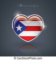 Puerto Rico - Glossy heart shape flags of the Worlds:...