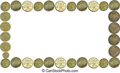Coins currency frame Isolated With a white background