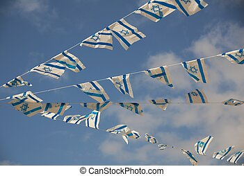 Israel Flags on Independence Day - Israeli flags showing the...