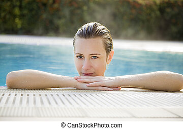 spa - Portrait of young woman in spa, front view