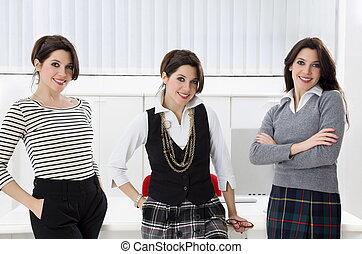 twins - Portrait of twin businesswomen posing in office