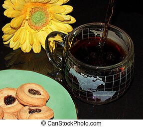 take a break - cookies, flower and coffee for a relaxing...