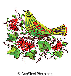 cuckoo - hand drawn, vector, illustration in Ukrainian folk...