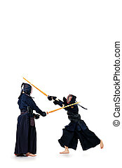 bokuto kendo - Two kendo fighters are fighting with each...