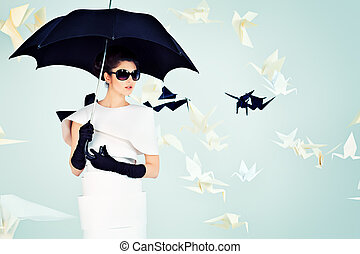 umbrella black - Art fashion photo of a gorgeous woman in...