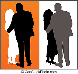 Couple - Two versions of a couple on red background and...