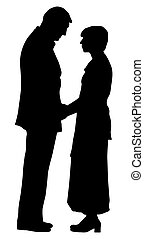 Couple - Silhouette of a couple on isolated white...