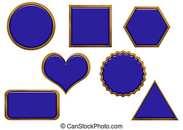 Golden Border Blue Buttons