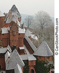 Snowy Castle Rooftops Cone Triangle Pattern in France -...