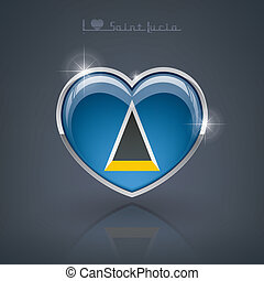 Saint Lucia - Glossy heart shape flags of the Worlds: Saint...